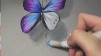 3D速涂彩铅蝴蝶——星空版    画材:灰卡,三福霹雳