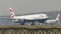 北京首都机场拍机—英航BA39-B77W[G-STBJ]降落