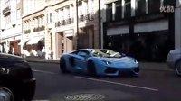 Baby blue兰博基尼Aventador LP700-4街头加速咆哮