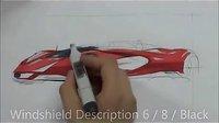 红色跑车马克笔手绘快速绘制  意翔工业设计手绘推荐视频