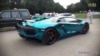 实拍改装超炫目电镀湖蓝色Lamborghini Aventador LP760-4龙年特别版