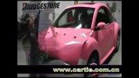 车身贴膜改色欣赏 甲壳虫粉红 车身改色贴膜教程