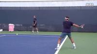 【普乐网球】费德勒发球 正反手慢动作 侧面角度2014辛辛那提