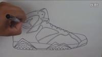 球鞋艺术 牛人手画 Air Jordan 7 Olympic AJ7 奥运