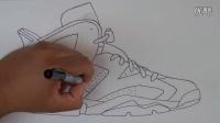球鞋艺术 牛人手画 Air Jordan 6 Carmine AJ6 胭脂红