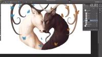 CG插画长角鹿生命之环涂绘视频快录