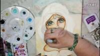 Watercolor Mixed Media Painting - Jasmine (Aladdin) - Big Eyes Disney Princesses