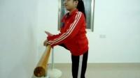 十二岁小女孩方宇佳舞蹈动作基本功练习(旁压腿)