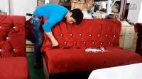 上海山晨家具有限公司包房沙发拉纽扣现场演示普通型