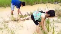 哥哥带妹妹去水边挖陷捕鱼,隔断时间开盖惊喜不断!_高清