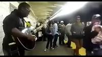 此黑人大哥已经将吉他外挂运用到了极致,秒杀你们。