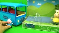 小猪佩奇 佩奇和兔小姐开着蓝色新校车接她的朋友们去上学