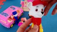 工程车汪汪队和小猪佩奇玩具视频佩奇被车撞了