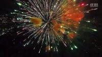 无人机航拍焰火在高空绽放