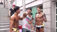 2015韩国富川健美比赛 肌肉纹身男抹油备赛