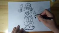 机器人勾线跟李老师学画画