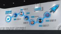 企业科技文化墙多媒体互动展厅设计3D效果图模型员工风采照片墙公司发展历程素材