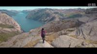 航拍 挪威雄伟山峰 好想去看看,峡谷风情光