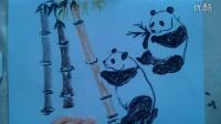"""儿童画画熊猫粉笔画法""""根""""李老师学画画"""
