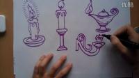 儿童画蜡烛根李老师学画画