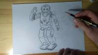机器人跟李老师学画画