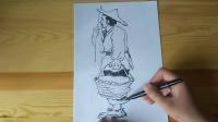 速写人物画法临摹示范侧面站姿跟李老师学画画.mp4