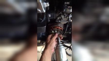 本田CB750励磁发电机线圈的拆卸