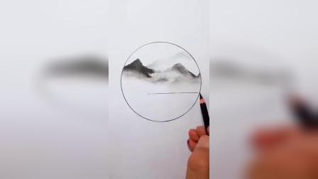 炭笔居然画出了国画的感觉