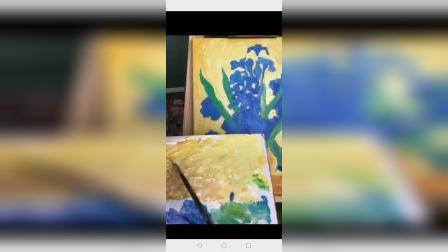 丙烯画花卉《初级 》9上.梵高蓝色鸢尾临摹