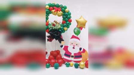 刚设计完成的圣诞花环气球立柱!让这个圣诞节布置更有新意