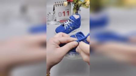 加内衬绒款扁线童鞋教程小芬手工钩鞋