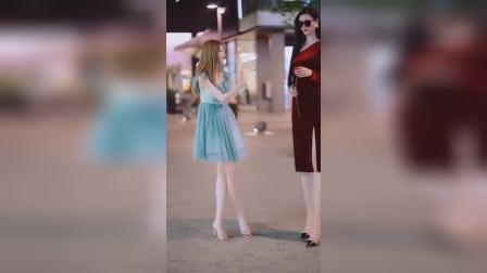 街拍:这身高,真是没有对比就没有伤害!