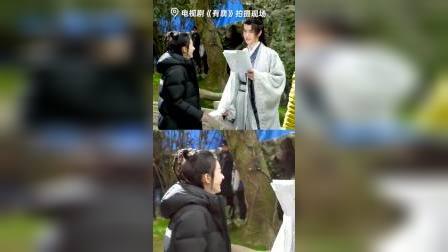 赵丽颖王一博剧组拍戏,太可爱了