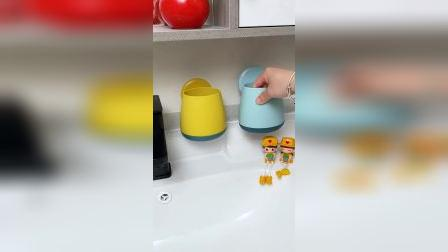 有了这个免打孔置物杯,牙刷碗筷再也不会随意摆放