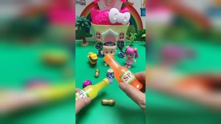儿童玩具:大头儿子喜欢喝酸奶