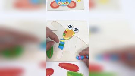 儿童简易木质拼图,蜻蜓拼拼乐玩具