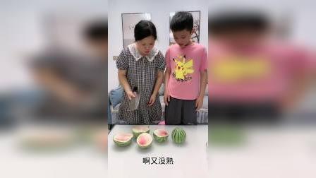 三个西瓜竟然没一个熟的!