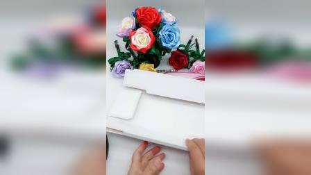 玫瑰花笔礼盒折叠方法