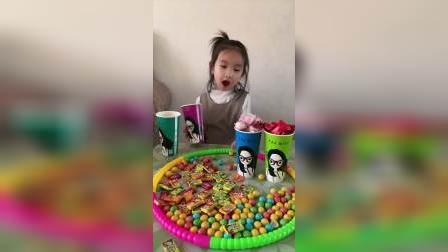 哇塞这么多的糖果.
