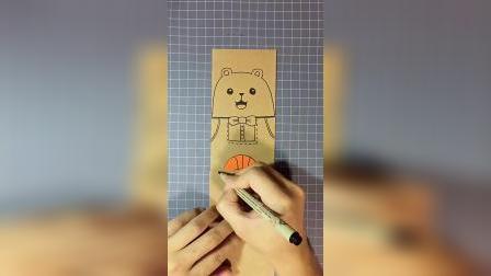 可爱的篮球熊宝宝书签,做好了送给喜欢的人!
