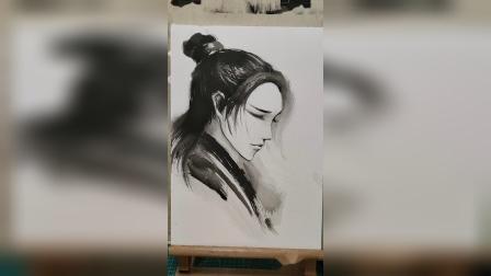 水墨古风男子教程【素描、水墨】
