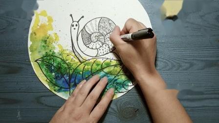 《蜗牛》儿童线描画