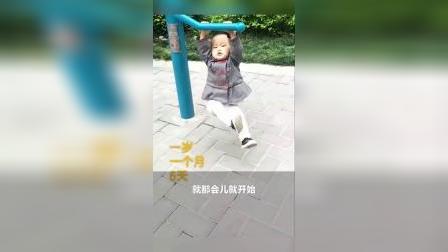 体操冠军好苗子!1岁多萌娃爱挂吊环和双杠