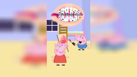 乔治拿妈妈的口红画画,被猪妈妈发现就完蛋了