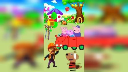 光头强打算开车去城里,小猪一家都来搭个顺风车