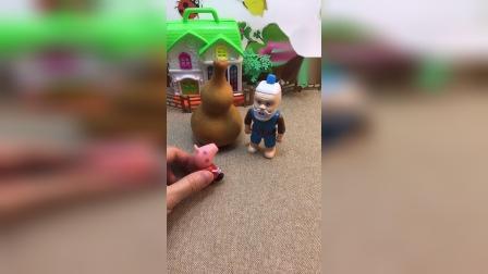 佩奇找葫芦娃帮忙,葫芦娃在葫芦里睡的叫不醒,一起叫葫芦娃吧!