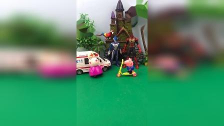 葫芦娃在为难滑板车,乔治也想学滑板,乔治请超级英雄保驾护航