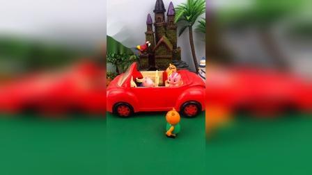 乔治开车送小伙伴上学,结果车被抢走了,乔治自己得走的上学