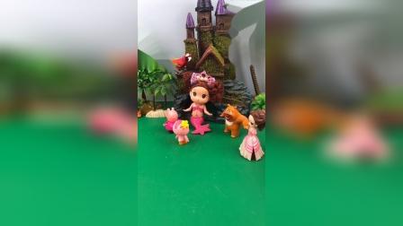 熊二佩奇夸美人鱼好看,贝尔公主表示不服,小朋友们不和贝尔玩