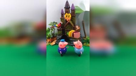 猪爷爷要给佩奇乔治买汉堡,猪爸爸来接猪爷爷回家,佩奇乔治想猪爷爷